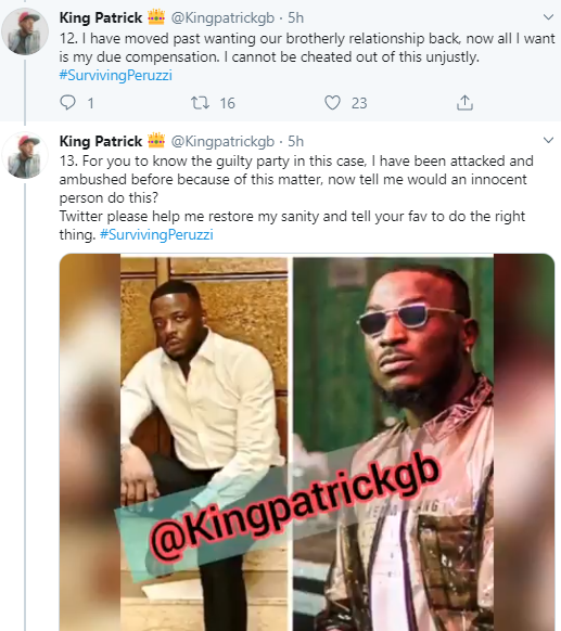 """""""See my reward for helping Peruzzi"""" Record producer who claims to have helped Peruzzi before he got recognized, accuses him of betrayal"""