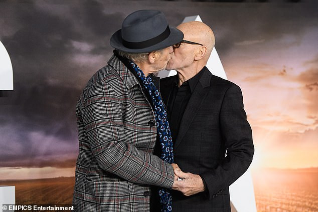 Actor Sir Patrick Stewart shares a kiss with best friend Sir Ian McKellen as his wife looks on at a movie premiere (Photos)