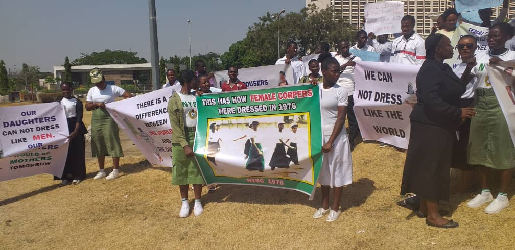 Serve With Skirts Movement protest against NYSC, demand inclusion of skirts in NYSC uniform (Photos)