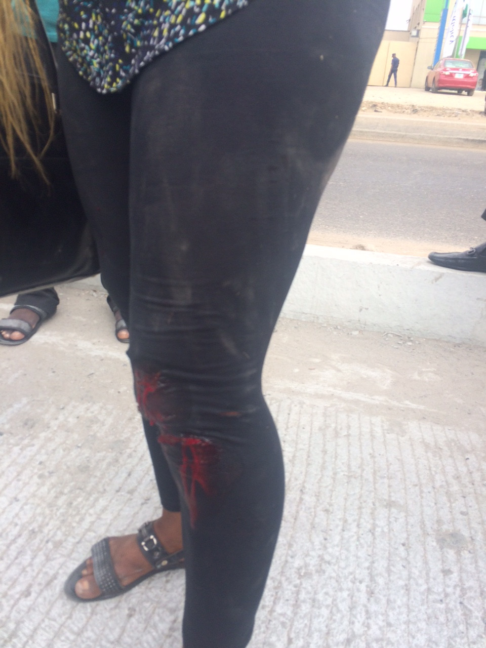 Lagos State Task Force Officials allegedly knock down Okada man and his passenger (photos)