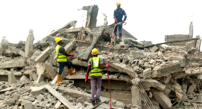 One rescued as three-storey building collapses in Lagos