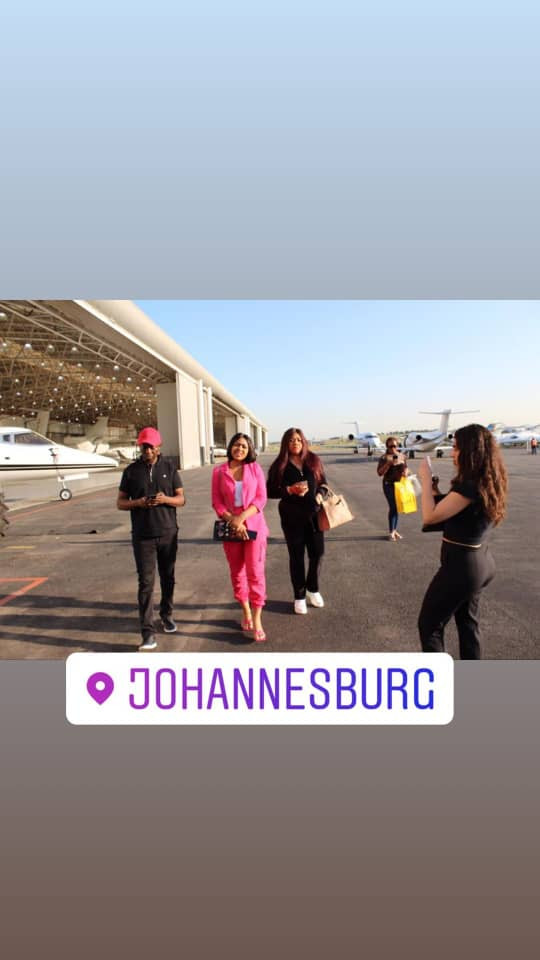 Actress Regina Daniels pictured with her husband, Ned nwoko and her mother, Rita Daniels in South Africa