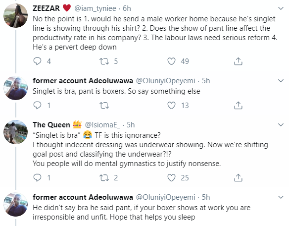 Nigerians react after Twitter user claimed that the CEO of Nigerian company sends his female staff home anytime their pant lining is visible