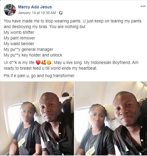 You made me stop wearing panties - Nigerian lady showers praises on her boyfriend