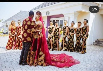 Nigerian couple wed in isiagu suit and wedding gown (photos)