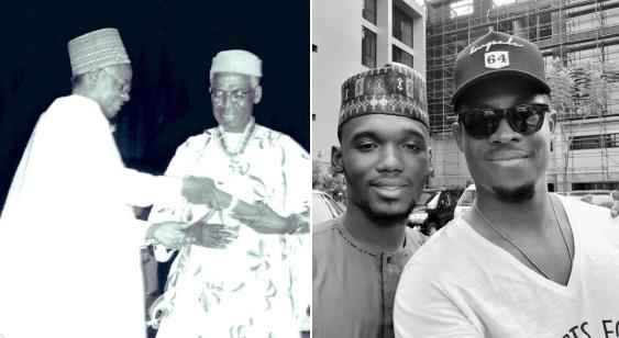 Grandsons of Obafemi Awolowo and Shehu Shagari - Seyi Awolowo and Bello Shagari pose for a photo