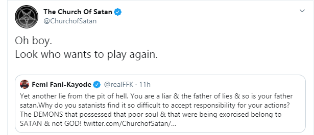 Femi Fani-Kayode and Church of Satan in Twitter showdown over pregnant woman and children killed by Christian sect