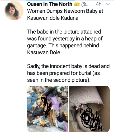 Body of newborn baby found in gabbage dump in Kaduna