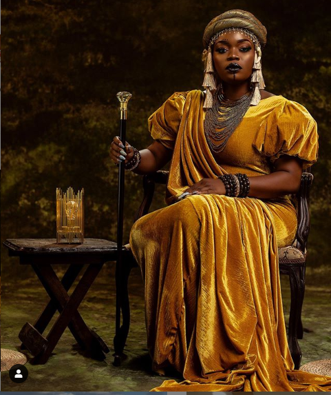 Actress Bisola channels Queen Amina of Zaria as she celebrates her 34th birthday?