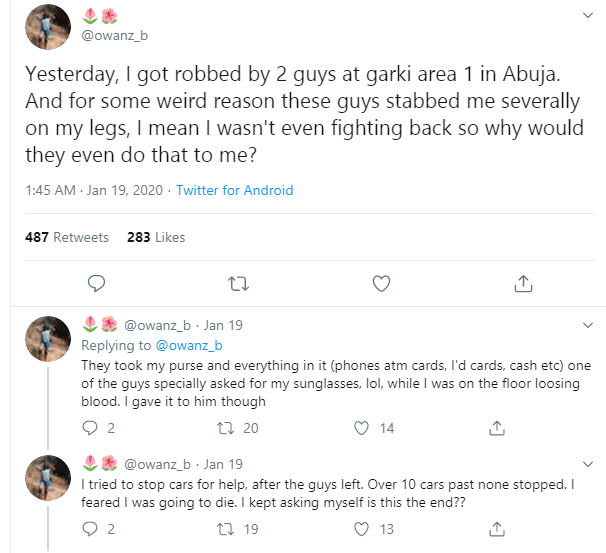 Nigerian lady recounts how she was robbed and stabbed by 2 men in Abuja