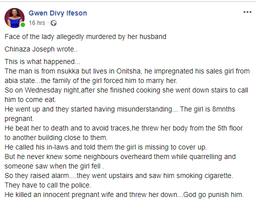 Man who allegedly pushed down his pregnant wife from fifth floor of their Onitsha apartment, was allegedly given quit notice over mysterious death of first wife