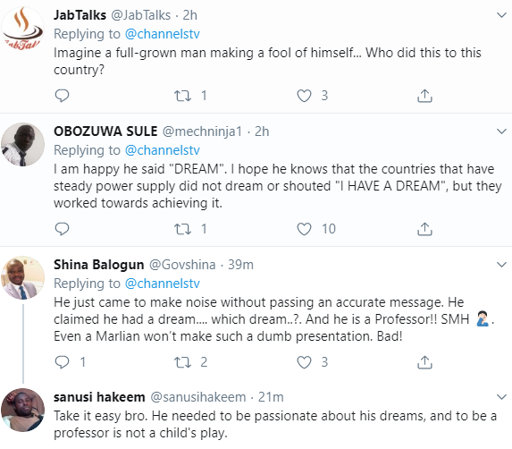 Nigerians mock Electricity Regulatory Commission boss James Momoh after he went on stage to shout