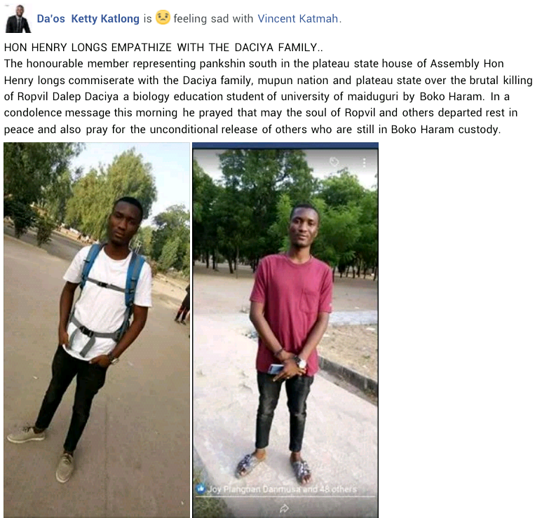 Update: Hostage executed by Boko Haram boy identified as Ropvil Dalep Daciya, a 200L University of Maiduguri student from Plateau State (photos)