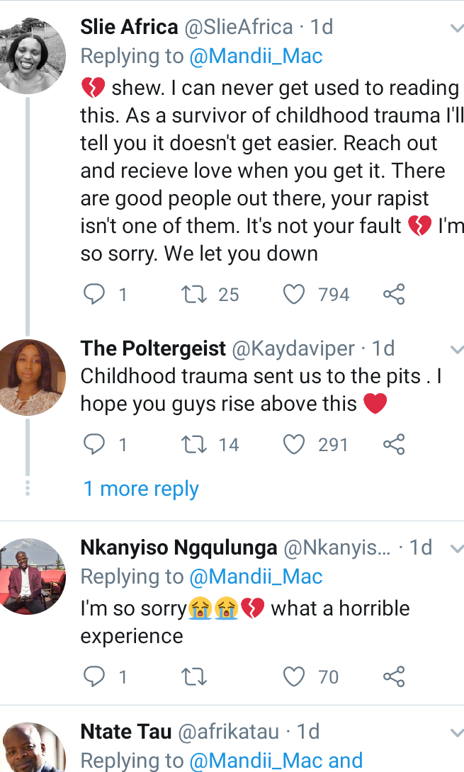 Twitter users sympathize with South African girl after she tweets she was raped on first day of 2020 and has been taking HIV medications since