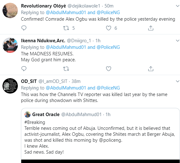 Alex Ogbu, the journalist covering Shiites march in Abuja, has been shot and killed