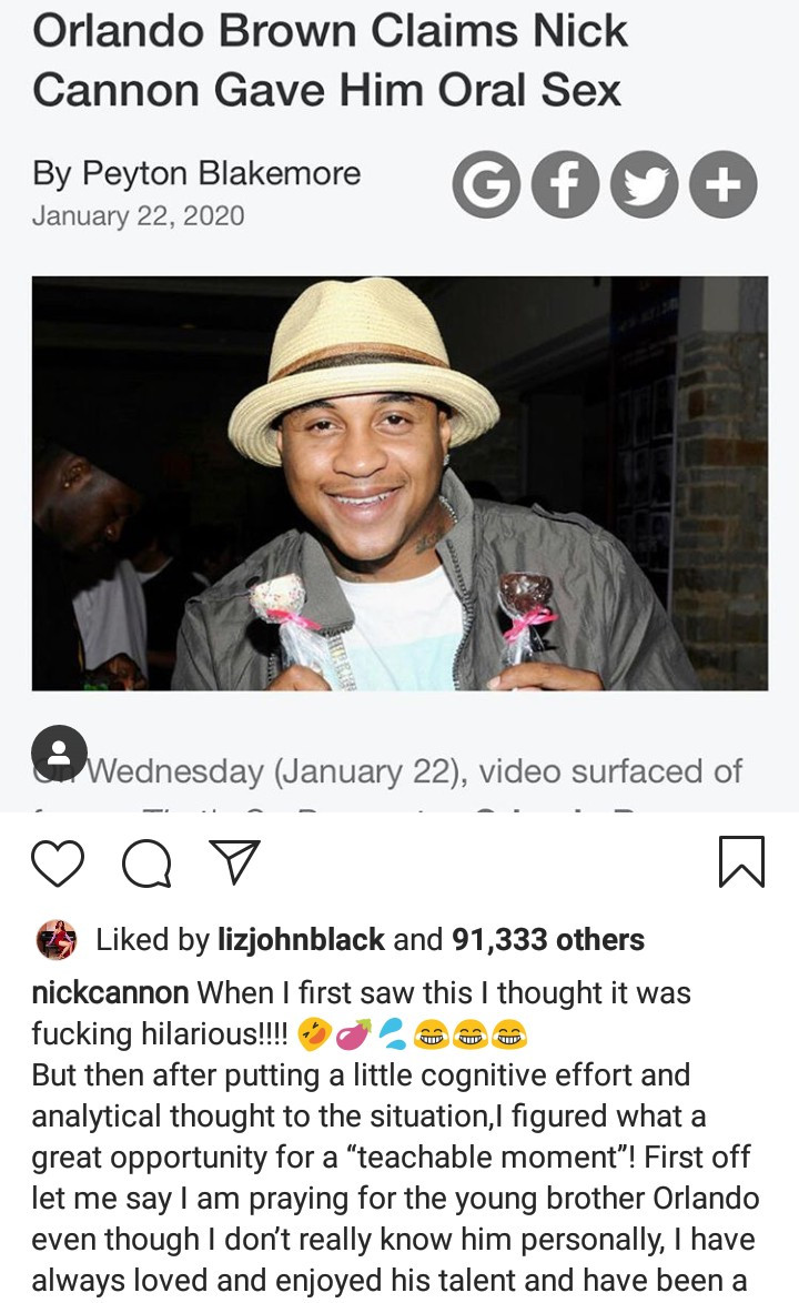 Nick Cannon responds after actor Orlando Brown claimed he gave him oral sex