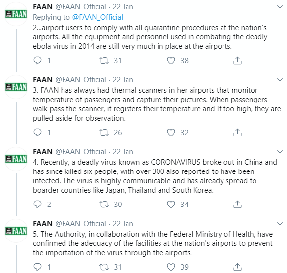 FAAN announces measures being taken to prevent the importation of the deadly Coronavirus into Nigeria