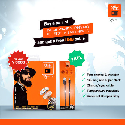 Buy a New Age X Phyno Bluetooth Earphone and get one New Age Sync Cable free