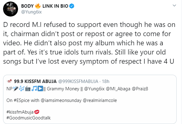 Yung6ix calls out M.I Abaga