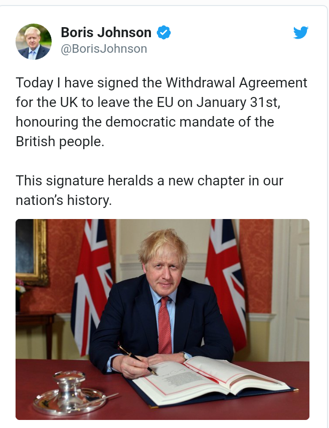 UK Prime Minister Boris Johnson signs Withdrawal Agreement, paving way for Brexit