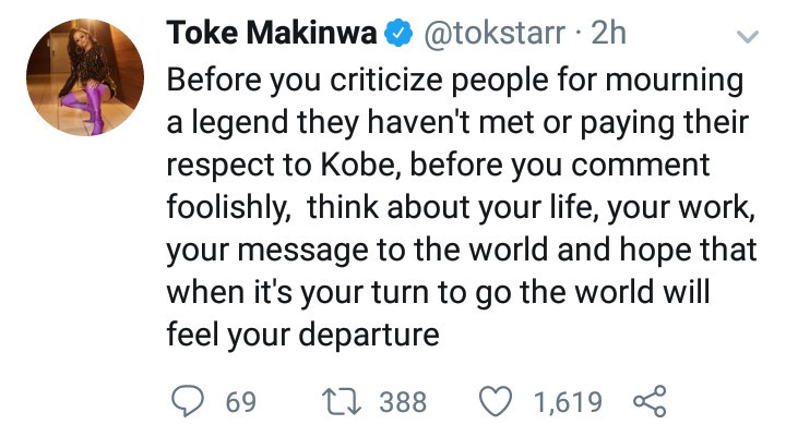 Toke Makinwa responds to those criticizing people mourning Kobe Bryant who they