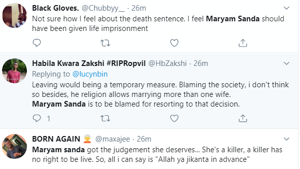 Mixed reactions trail court order sentencing Maryam Sanda to death by hanging for stabbing husband, Bilyaminu Bello to death