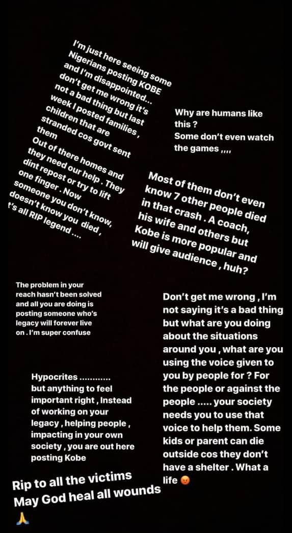 ?Hypocrites?- BBNaija star Khloe calls out Nigerians mourning Kobe Bryant and his daughter, Gianna
