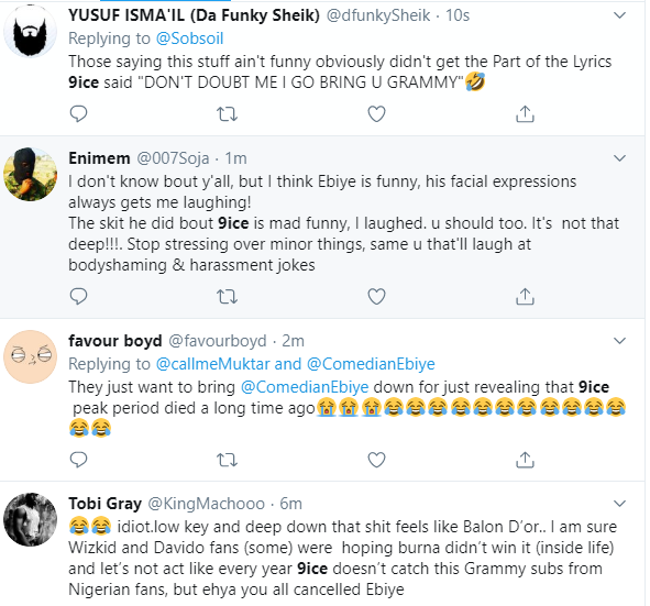 Nigerians react after comedian Ebiye releases skit insinuating singer 9ice was happy Burna Boy didn
