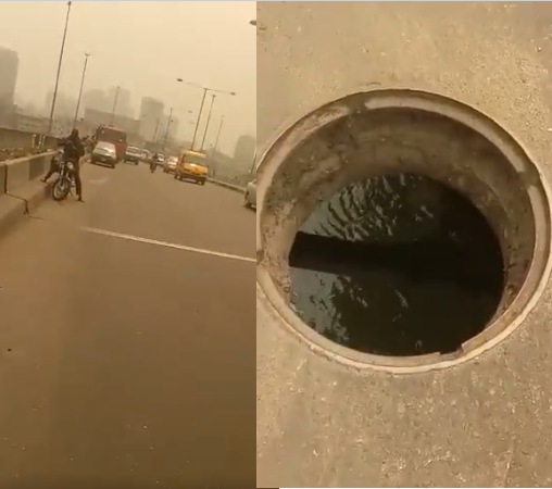 Darey Art Alade draws the attention of the government to an open manhole on Idumota bridge that poses a threat to lives (video)