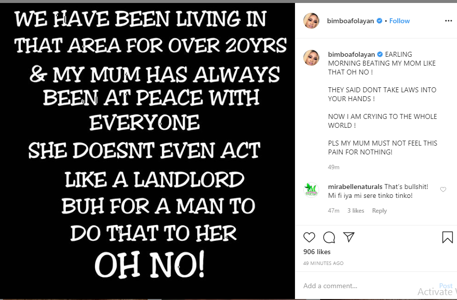 Actress Bimbo Afolayan cries out after landlord allegedly assaulted her mother over security fee
