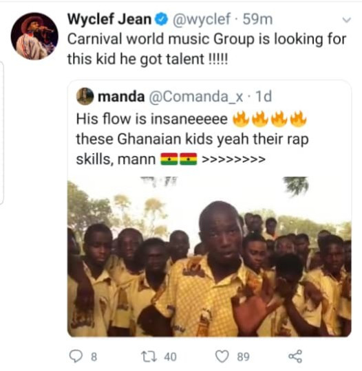 Ghanaian secondary school rapper gets the attention of Wyclef Jean