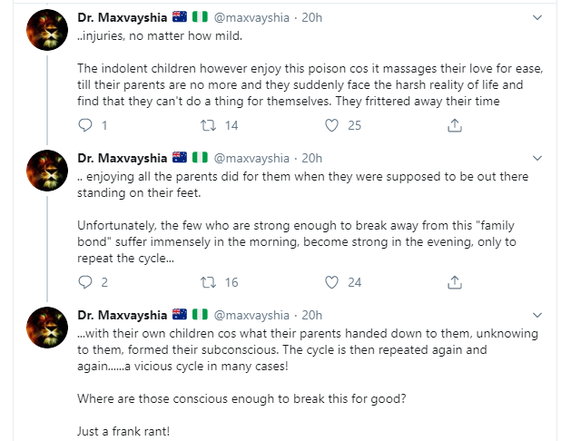 No help given by African parents to their kids is genuine or completely selfless - Twitter user