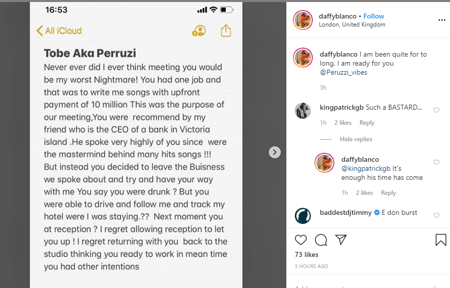 Singer Daffy Blanco accuses Peruzzi of allegedly trying to rape her, releases audio clips of him allegedly apologizing