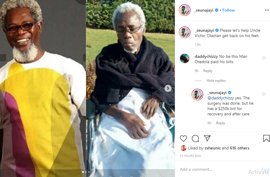 New photos of sick veteran actor, Victor Olaotan leaves Nigerians in shock