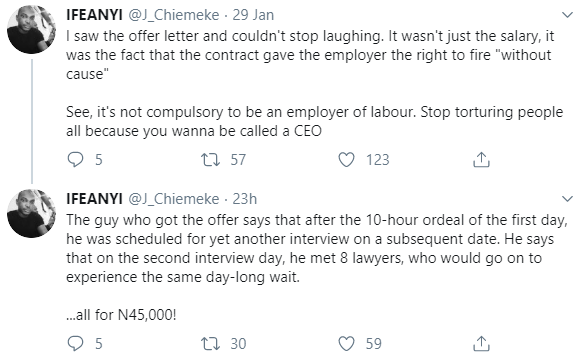Lawyers made to wait 10 hours for an interview after which the chosen job seeker was offered salary of 45,000 Naira