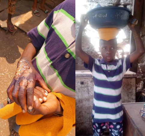 See what a mother did to her son for spending her money on biscuits without her permission (photos)