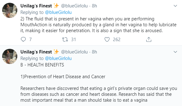 Twitter user lectures Nigerians on the benefits of eating vagina before intercourse