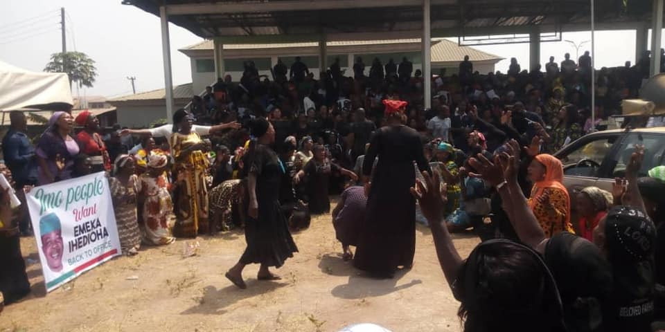 Photos: Imo residents again protest Supreme court judgement sacking Ihedioha