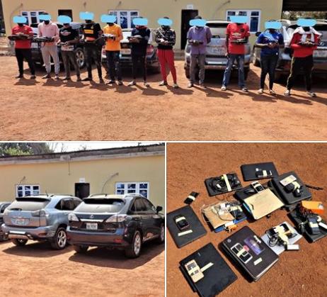 Photos: Eleven suspected internet fraudsters arrested in Enugu