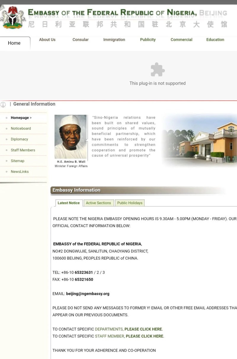 Nigerian Embassy in China still has Jonathan as President on its website nearly 5 years after President Buhari resumed office
