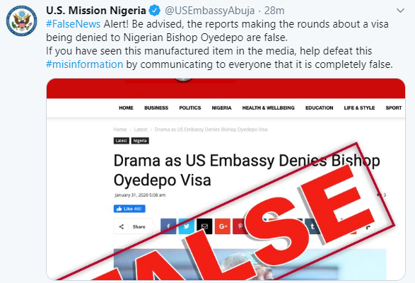 Image result for images of US Embassy in Nigeria denies rejecting Bishop Oyedepo's visa application