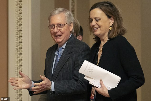 Republicans looking happy while Democrats look dejected as senate trial ends without witnesses, clearing path for Trump