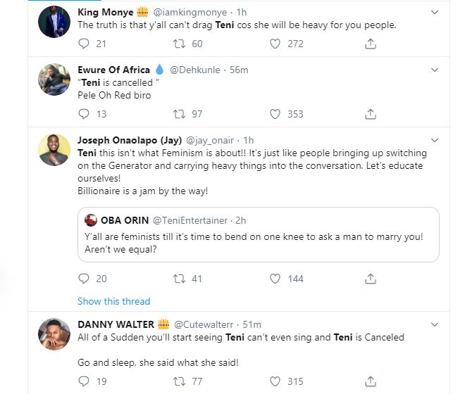 Nigerians react to Teni