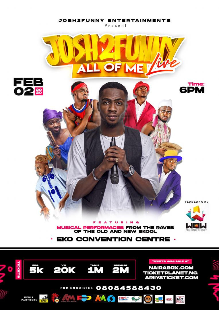 Josh2Funny set to host his first comedy show ?All of me?  at Eko hotel