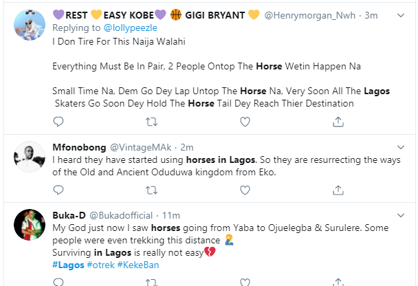 #Okadaban: Nigerians react as horses are now reportedly used to convey Lagosians to their destinations (video)