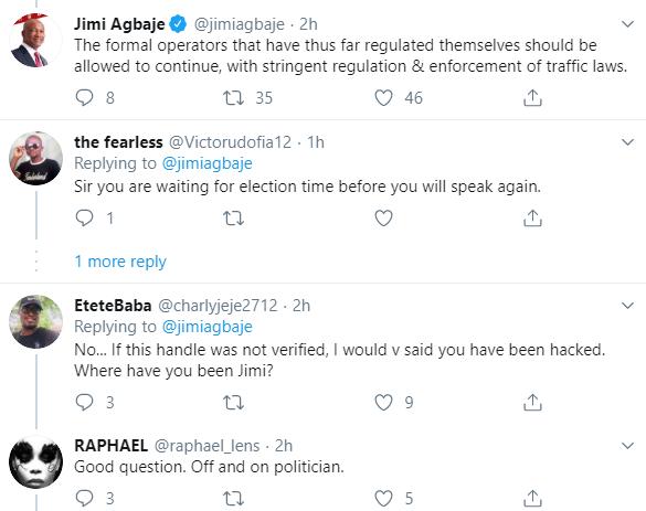 Jimi Agbaje reacts to the okada ban in Lagos