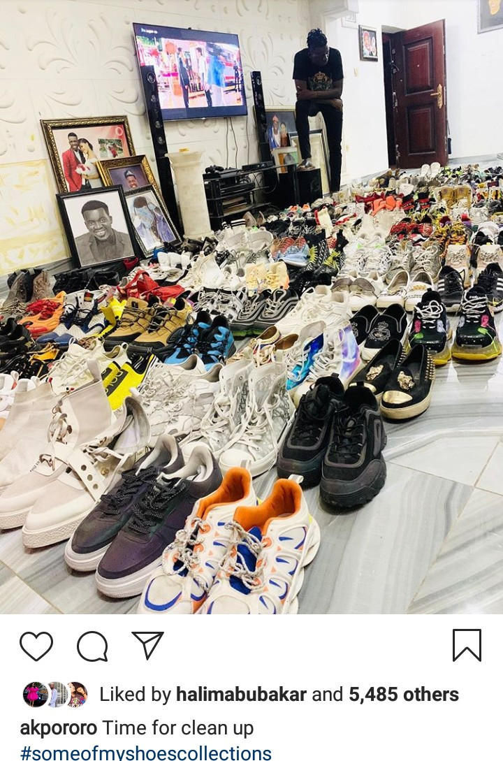 Akpororo shows off his impressive shoe collection