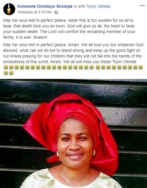 Friends mourn woman who was stabbed to death along with her husband by their son in Lagos