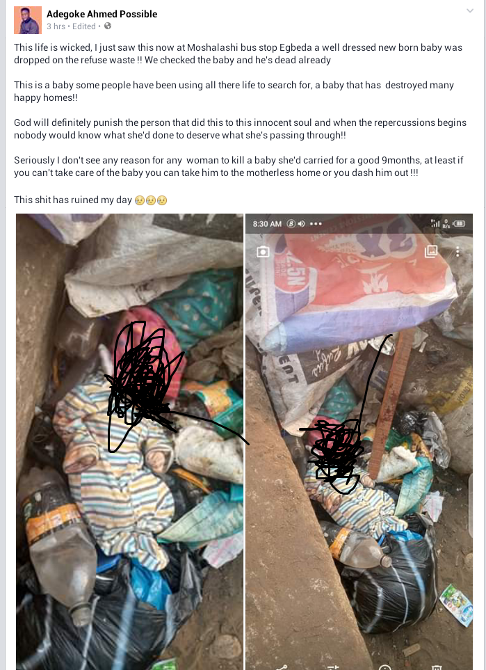 Body of fully clothed newborn baby found in refuse dump at a bus stop in Lagos (graphic photos)