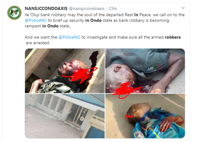 Policemen and others killed as robbers storm banks in Ondo State (graphic photos)